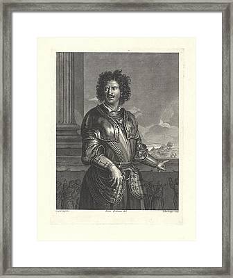 Portrait Of An Unknown Man In A Harness, He Faces A Railing Framed Print by Theodor Vercruys