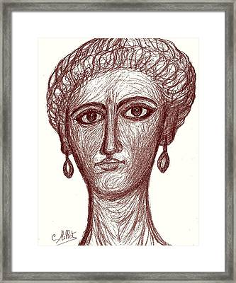 Portrait Of Ancient Roman Woman Inspired From Portraits Of Fayum Framed Print by Cindy MILLET