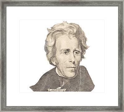 Portrait Of Andrew Jackson On White Background Framed Print by Keith Webber Jr