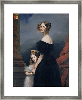 Portrait Of Anne-louise Alix De Montmorency, With Her Daughter, C.1840 Oil On Canvas Framed Print by Claude-Marie Dubufe