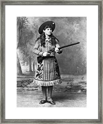 Portrait Of Annie Oakley Framed Print by Underwood Archives
