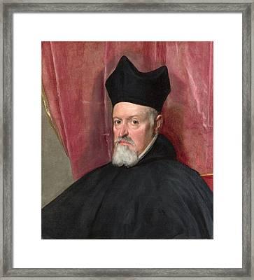 Portrait Of Archbishop Fernando De Valdes Framed Print by Diego Velazquez