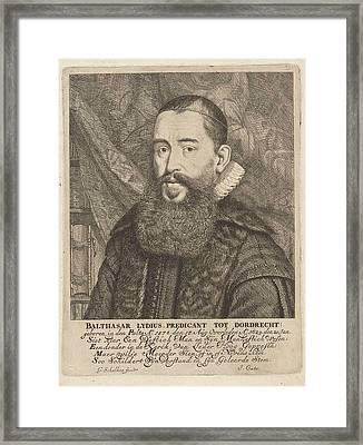 Portrait Of Balthasar Lydius, Godfried Schalcken Framed Print by Godfried Schalcken And Jacob Cats