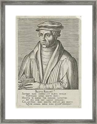 Portrait Of Beatus Bild, Philips Galle, Hadrianus Junius Framed Print by Philips Galle And Hadrianus Junius