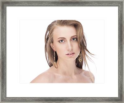 Portrait Of Beautiful Young Girl Framed Print by Anastasia Yadovina