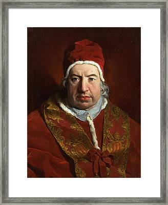 Portrait Of Benedict Xiv Framed Print by Pierre Subleyras