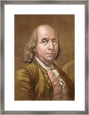 Portrait Of Benjamin Franklin Framed Print