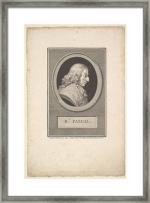 Portrait Of Blaise Pascal Framed Print