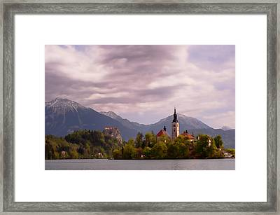 Framed Print featuring the photograph Portrait Of Bled Slovenia by Graham Hawcroft pixsellpix