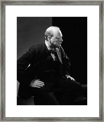 Portrait Of British Prime Minister Winston Framed Print