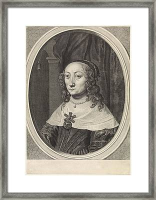 Portrait Of Catherina Charlotta, Countess Palatine Framed Print by Theodor Matham And Johannes Spilberg Ii