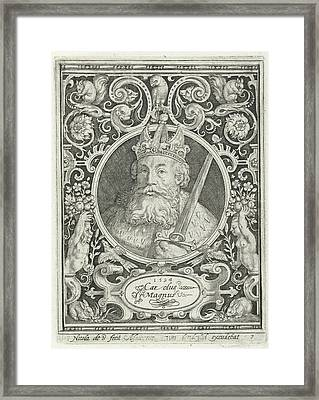 Portrait Of Charlemagne In Medallion Inside Rectangular Framed Print by Nicolaes De Bruyn And Anonymous