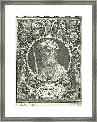 Portrait Of Charlemagne In Medallion Inside Rectangular Framed Print by Nicolaes De Bruyn