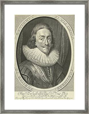 Portrait Of Charles I, King Of England In Oval Framed Print
