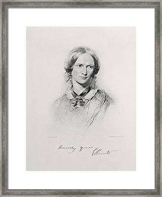 Portrait Of Charlotte Bronte, Engraved Framed Print by George Richmond