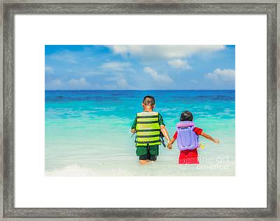 Portrait Of Children In Life-jackets  Framed Print by Anek Suwannaphoom