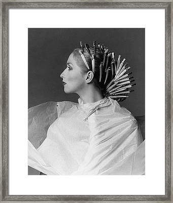 Portrait Of Chris Royer With Hair Clips Framed Print