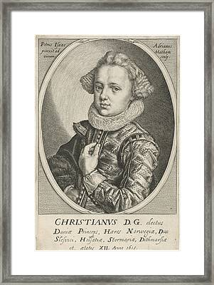 Portrait Of Christian Of Denmark And Norway Framed Print by Adriaen Matham