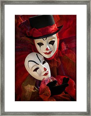 Portrait Of Clown With Mask Framed Print