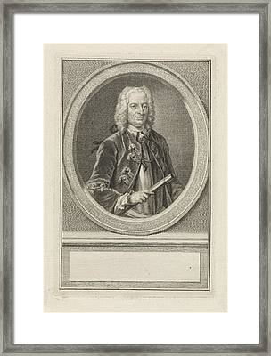 Portrait Of Cornelis Schrijver, Jacob Houbraken Framed Print by Jacob Houbraken And Hendrik Pothoven