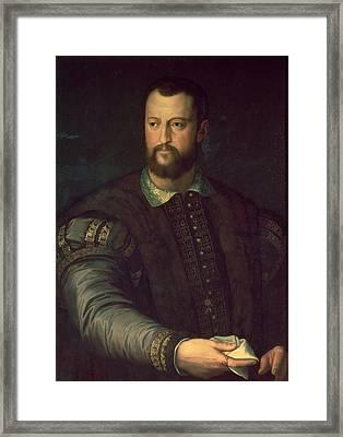 Portrait Of Cosimo I De Medici 1519-74 1559 Oil On Canvas Framed Print