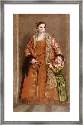 Portrait Of Countess Livia Da Porto Thiene And Her Daughter Deidamia Framed Print by Paolo Veronese