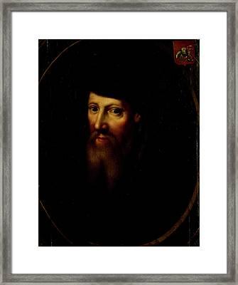 Portrait Of David Jorisz, Glass Painter In Delft Framed Print by Litz Collection