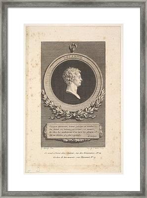 Portrait Of De Larive Framed Print by Augustin de Saint-Aubin