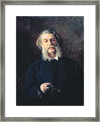Portrait Of Dmitri Vasilievich Grigorovich 1822-99, 1876 Oil On Canvas Framed Print