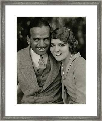 Portrait Of Douglas Fairbanks And Mary Pickford Framed Print