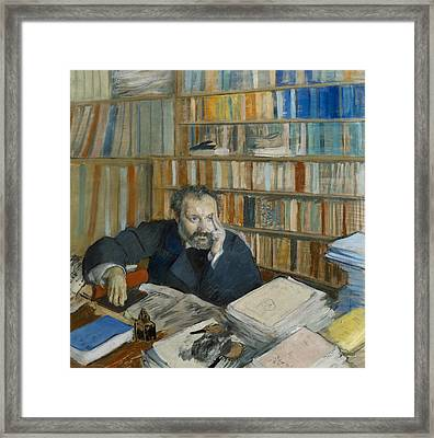 Portrait Of Edmond Duranty, 1879 Framed Print by Edgar Degas