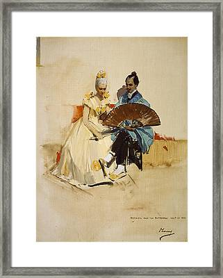Portrait Of Edward Arthur Walton With His Fiancee Helen Law As Hokusai And The Butterfly, 1889 Oil Framed Print by Sir John Lavery