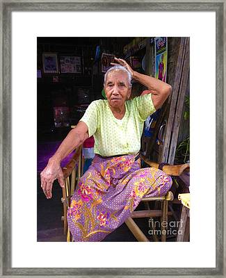 Framed Print featuring the photograph Portrait Of Elderly Burmese Lady Sitting In Front Of Home 33rd Street Chanayethazan Mandalay Burma by Ralph A  Ledergerber-Photography