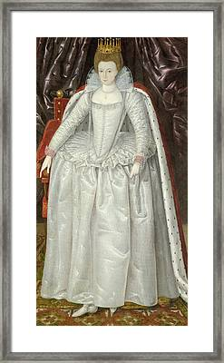 Portrait Of Elizabeth Vernon, Countess Framed Print by English School