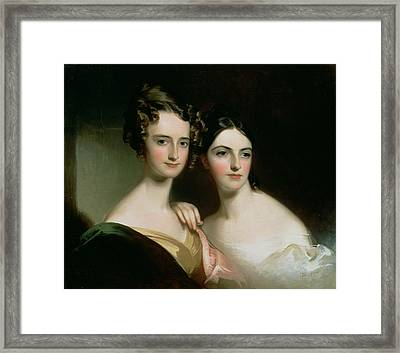 Portrait Of Ellen And Mary Mcilvaine, 1834 Oil On Canvas Framed Print