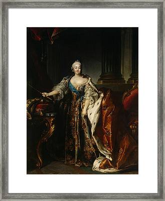 Portrait Of Empress Elizabeth, 1758 Oil On Canvas Framed Print