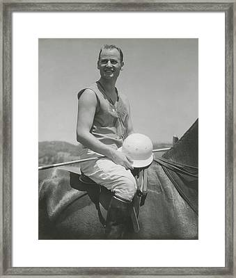 Portrait Of Eric Pedley Sitting On A Horse Framed Print