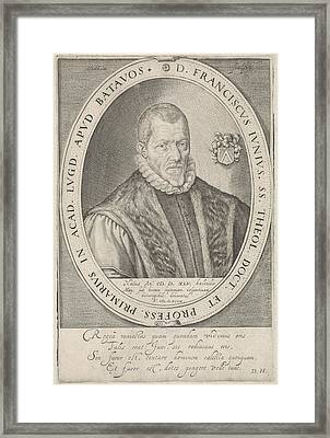 Portrait Of Francis Junius, Jacob Matham Framed Print by Jacob Matham And Dani?l Heinsius