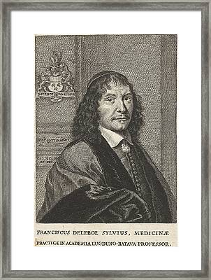 Portrait Of Franciscus De Le Bo Sylvius Framed Print by Cornelis Van Dalen Ii And Anonymous