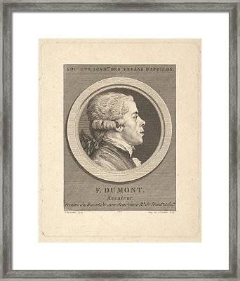 Portrait Of Fran�ois Dumont Framed Print by Augustin de Saint-Aubin