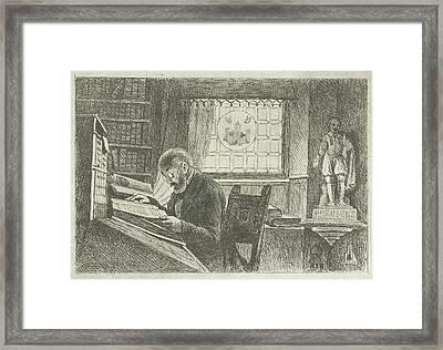 Portrait Of Frederick Verachter At His Desk In The Archive Framed Print by Philippus Jacobus Van Bree