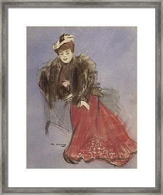 Portrait Of Gabrielle Rejane Framed Print by Ramon Casas