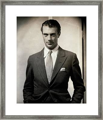 Portrait Of Gary Cooper Wearing A Suit Framed Print