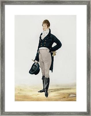 Portrait Of George Beau Brummell Framed Print by Robert Dighton