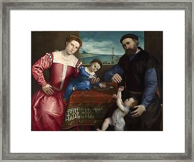 Portrait Of Giovanni Della Volta With His Wife And Children Framed Print by Lorenzo Lotto