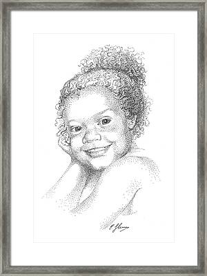 Portrait Of Girl. Commission. Stippling In Black Ink Framed Print