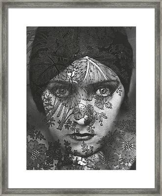 Portrait Of Gloria Swanson Behind Lace Framed Print