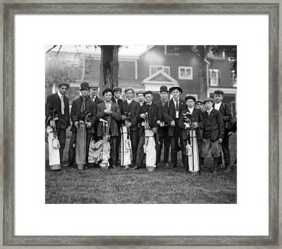 Portrait Of Golf Caddies Framed Print by Underwood Archives