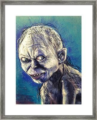 Portrait Of Gollum Framed Print by Alban Dizdari