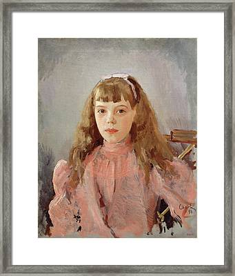 Portrait Of Grand Duchess Olga Alexandrovna 1882-1960 1893 Oil On Canvas Framed Print